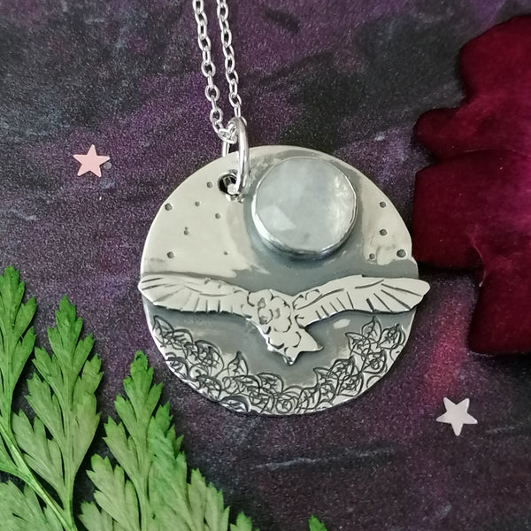 Owl and Moonstone Necklace
