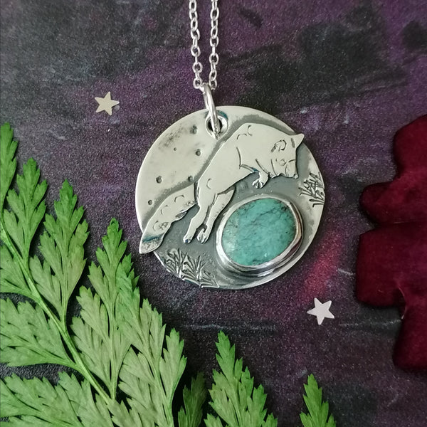Fox and Turquoise Necklace