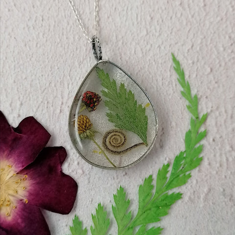 Wild Strawberry and Fern Necklace