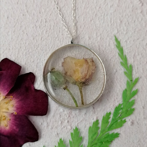 Poppy Head and Flower Necklace