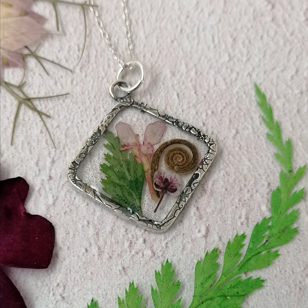 Pink Lobelia and Fern Necklace