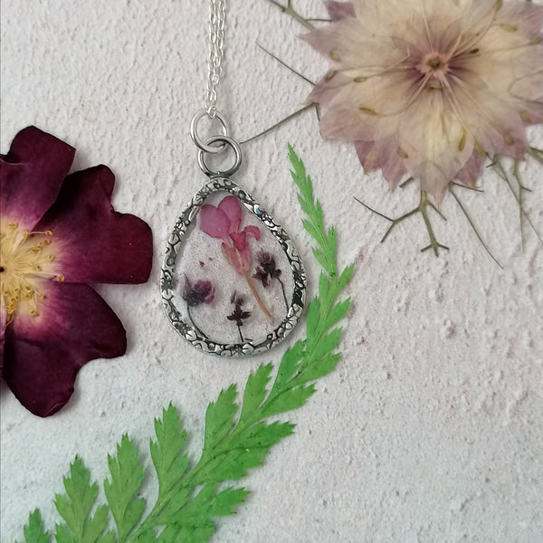 Pink Lobelia and Purple Alyssum Necklace