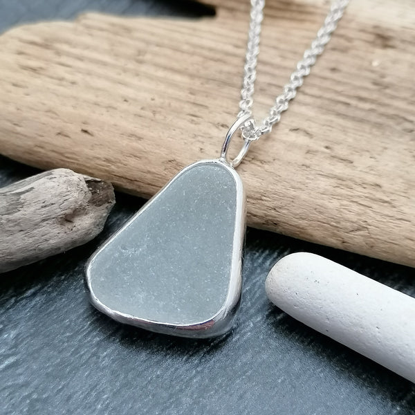 Grey Seaglass Necklace