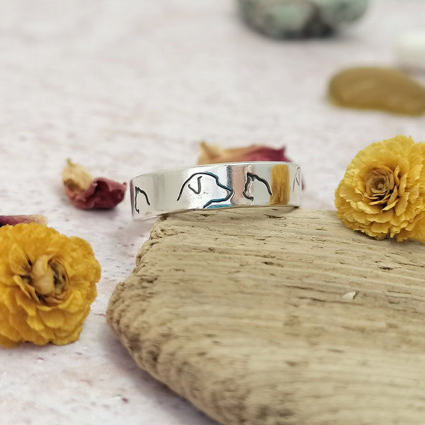 Cat Dog Sterling Silver Ring