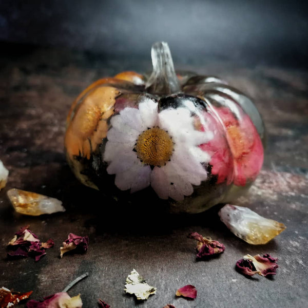 Floral Resin Pumpkin Decoration