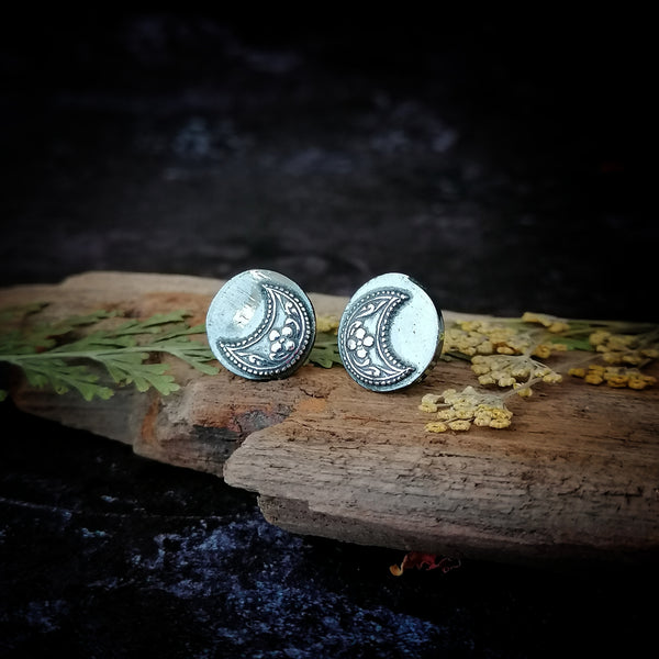 Floral Crescent Moon Oversized Stud Earrings