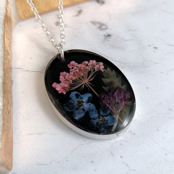 Pink Purple and Blue Flower Necklace