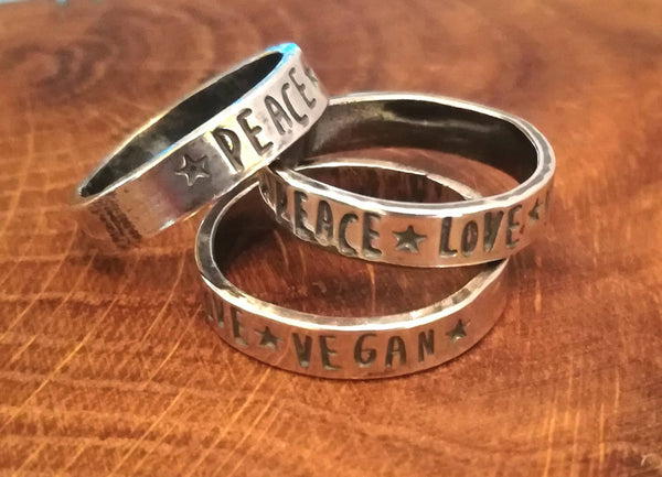 Peace Love Vegan Ring