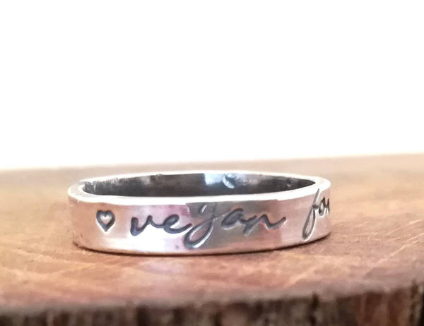 Vegan For Life Sterling Silver Ring