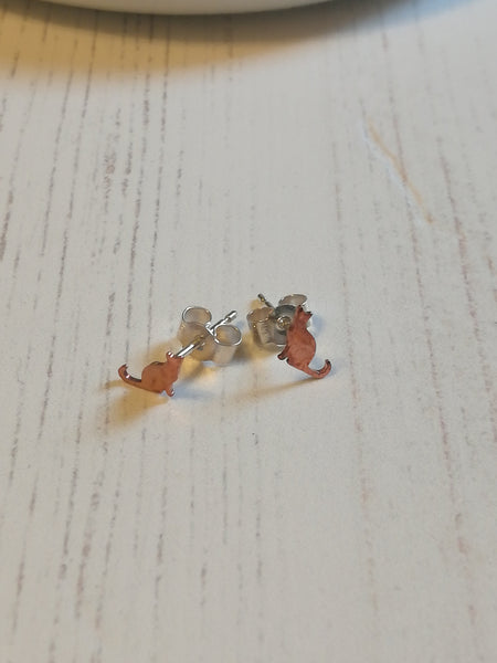 Copper Cat Stud Earrings