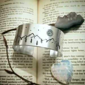 Full Moon Mountain Cuff Bracelet