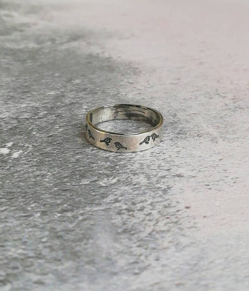Recycled sterling silver bird ring