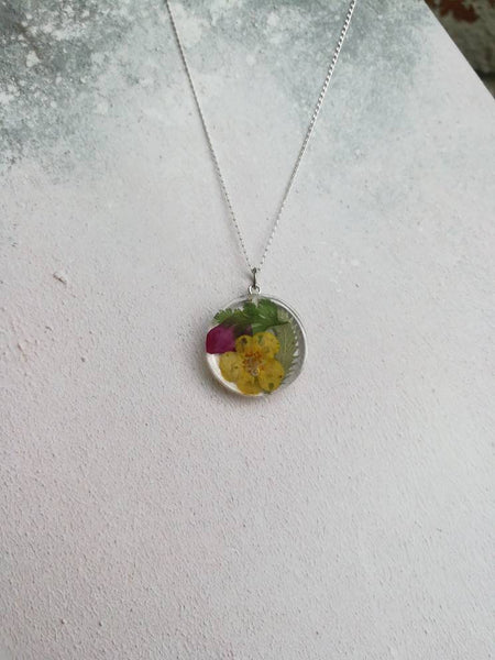 Yellow and Purple Flower Necklace