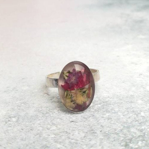 Dried Flower Ring UK size K US size 5 1/4