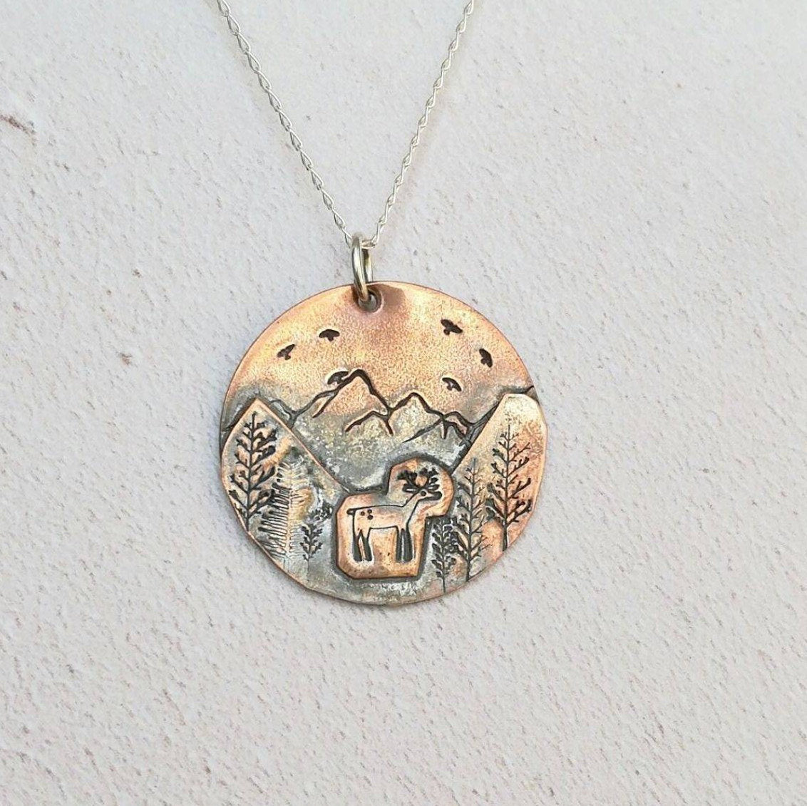 Deer in Mountains Necklace