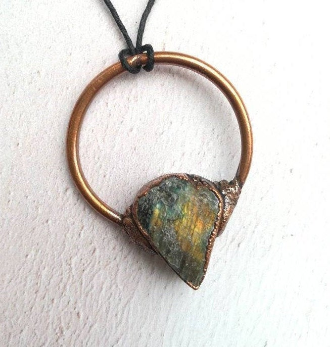 Raw Labradorite Copper Necklace