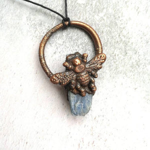 Raw Blue Kyanite Bee Necklace