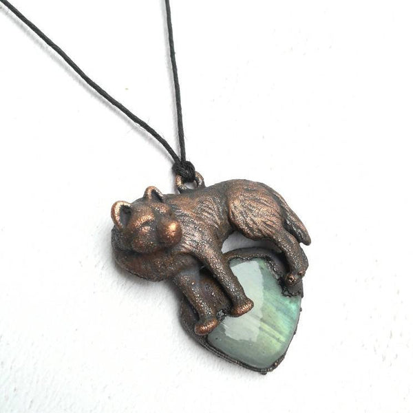 Green Labradorite And Wolf Necklace
