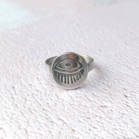 Radiating Eye Sterling Silver Ring