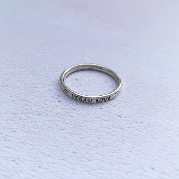 Vegan Love Sterling Silver Ring
