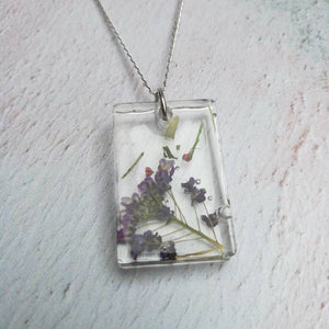 Purple Dried Flower Necklace