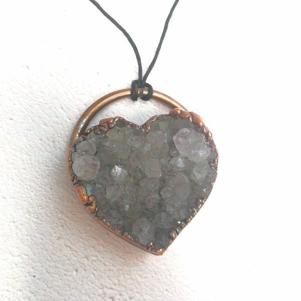 Druzy Amethyst Heart Necklace