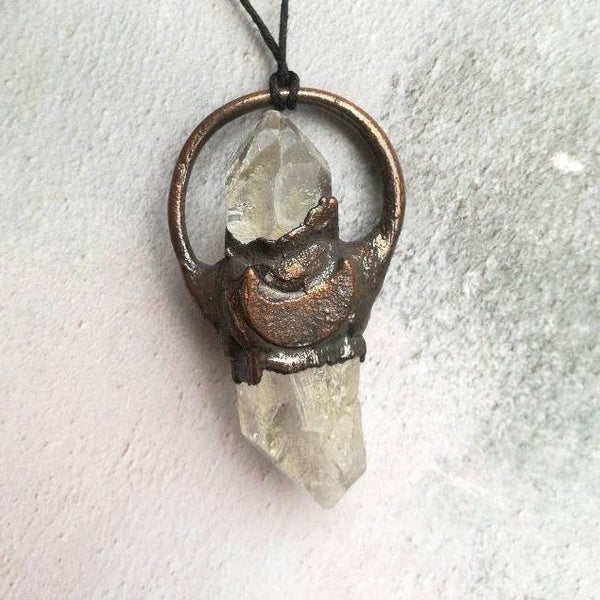 Raw Quartz Crystal Moon Necklace
