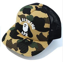 Load image into Gallery viewer, bape 1st camo college mesh cap (yellow)