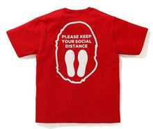 Load image into Gallery viewer, bape social distance apehead tee (red)