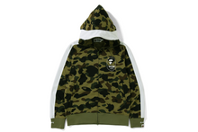 Load image into Gallery viewer, bape 1st camo line jersey full zip hoodie (green)