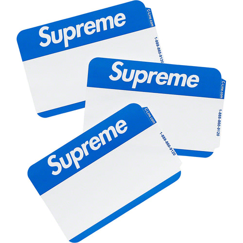 supreme name badge stickers (pack of 100 - blue)