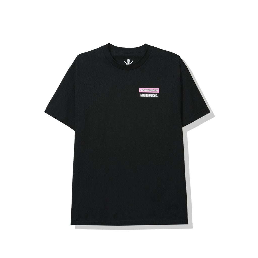 anti social social club x neighborhood 'stuck on you' tee (blk)