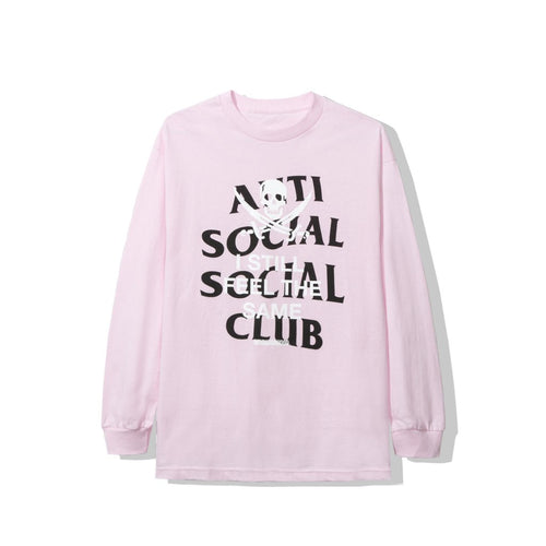 anti social social club x neighborhood 'black jack' longsleeve tee (pink)