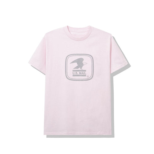 anti social social club x usps work tee (pink)