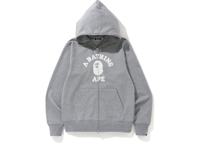 bape college full zip hoodie (grey)