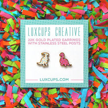 Load image into Gallery viewer, luxcups dino cookie earrings