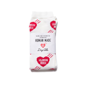 human made long heart pattern socks (red)