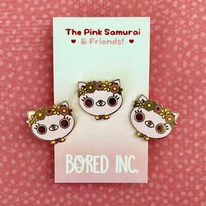 bored inc pink samurai enamel pin