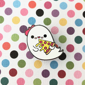bored inc boba ghost loves pizza enamel pin