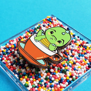 luxcups 'green tea rex' enamel pin