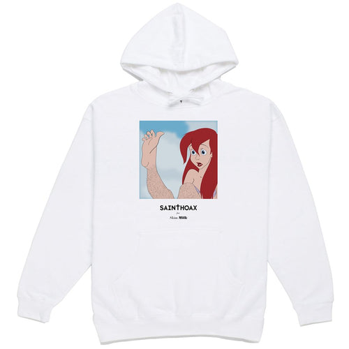 skim milk 'come as you are' hoodie sweatshirt (wht)