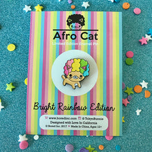 Load image into Gallery viewer, bored inc afro cat bright rainbow enamel pin