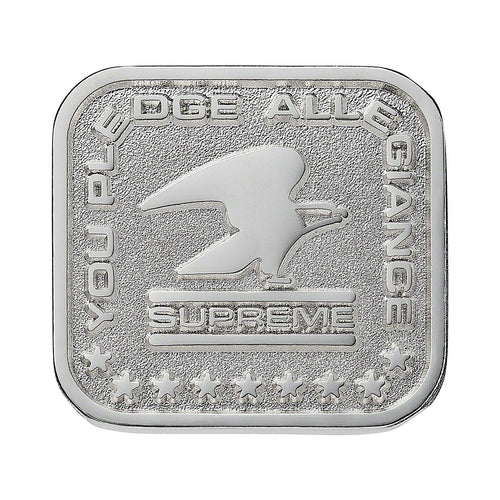 supreme pledge allegiance pin (silver)