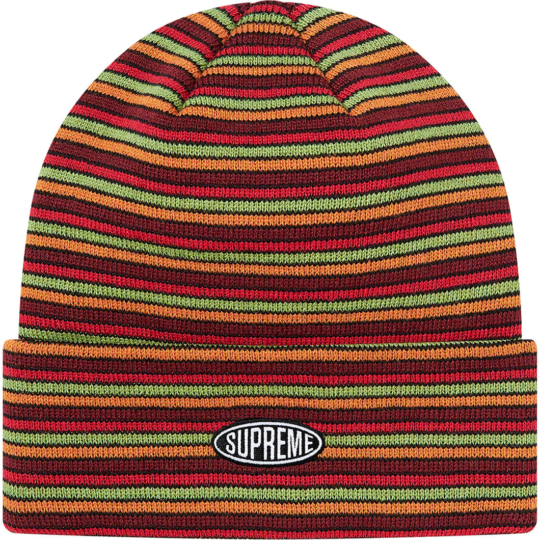 supreme multi stripe beanie (red)