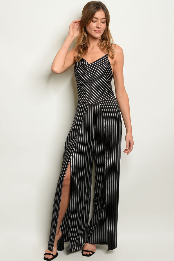 Black Stripes Jumpsuit