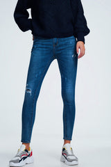 Blue Distressed Mid Wash Jeans