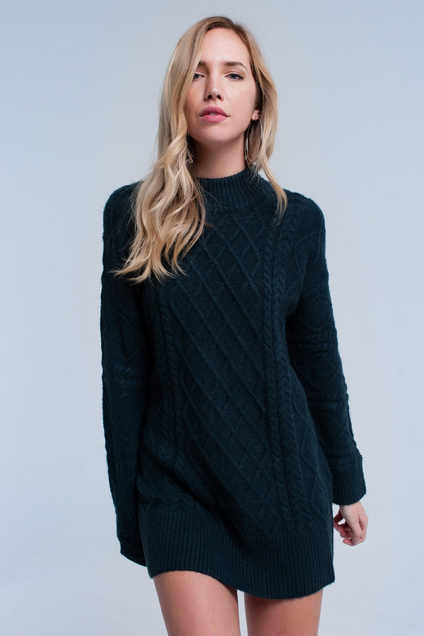 Cable Knit Charcoal Gray Sweater