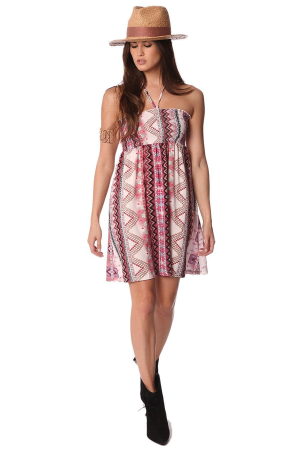Bandeau Dress With Geo-Tribal Print