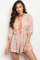 Womens Blush Floral Romper