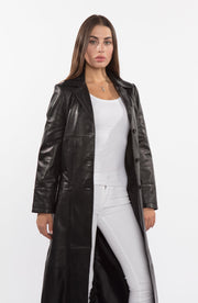 Ladies 3 Button Matrix Black Full Length Leather Coat - Clearance